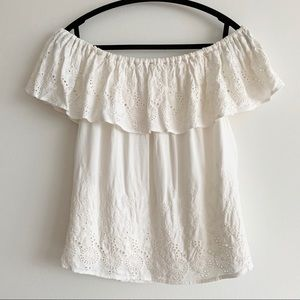 Lucky Brand Embroidered Off Shoulder Top